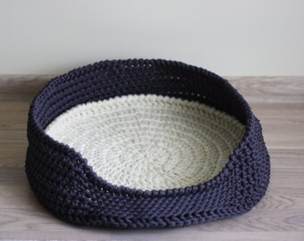Cat bed - Crochet cat bed - Pet bed - Pet basket - Crochet Dog Bed - Cat Bed Chunky Yarn - Handmade