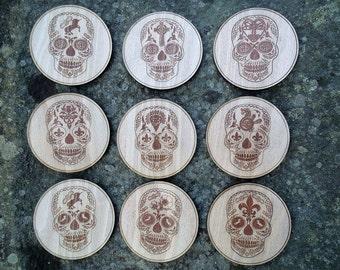 Set of 9 wooden Sugar Skull Coasters