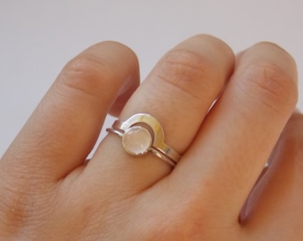 """2 stackable rings """"puzzle""""   silver  and pink rose quartz for woman"""