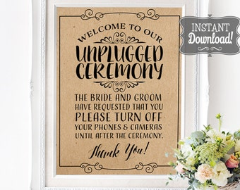 Unplugged Ceremony Poster - INSTANT DOWNLOAD - Wedding Art, Wedding Poster, No Social Media, No Cameras, No Phones Brown Kraft Paper Sign