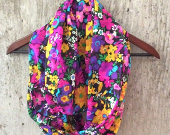 Vibrant floral infinity scarf