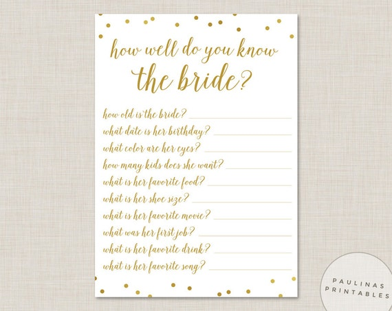 How Well Do You Know The Bride: How Well Do You Know The Bride Printable Bridal Shower Game