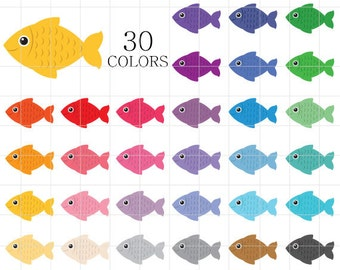 Fish Clipart, Colorful Fish Clip Art, Fishing Clipart, Digital Fish, Rainbow Fish Clipart, Rainbow Digital Fish, Digital Fishes