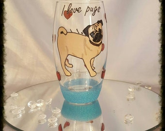 Handpainted love pugs tumbler glass