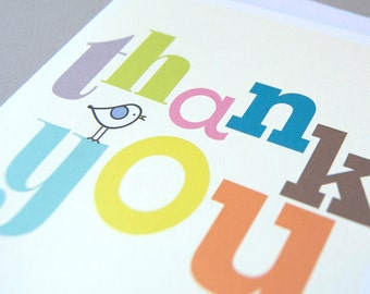 Six Colourful Thank You Cards