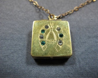 Vintage Locket, Emerald and Diamond Locket, Vintage Necklace, 10k vintage gold
