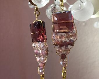 Purple Crystal Dangle Earring