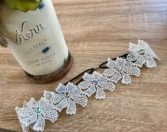 Island Flower Lace Headband with Irridescent Rhinestones