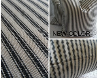 Black & Potting Soil Brown Ticking Pillow Covers. BROWN. BLACK. Stripe Ticking. 12x16 Brown Ticking Pillow covers.