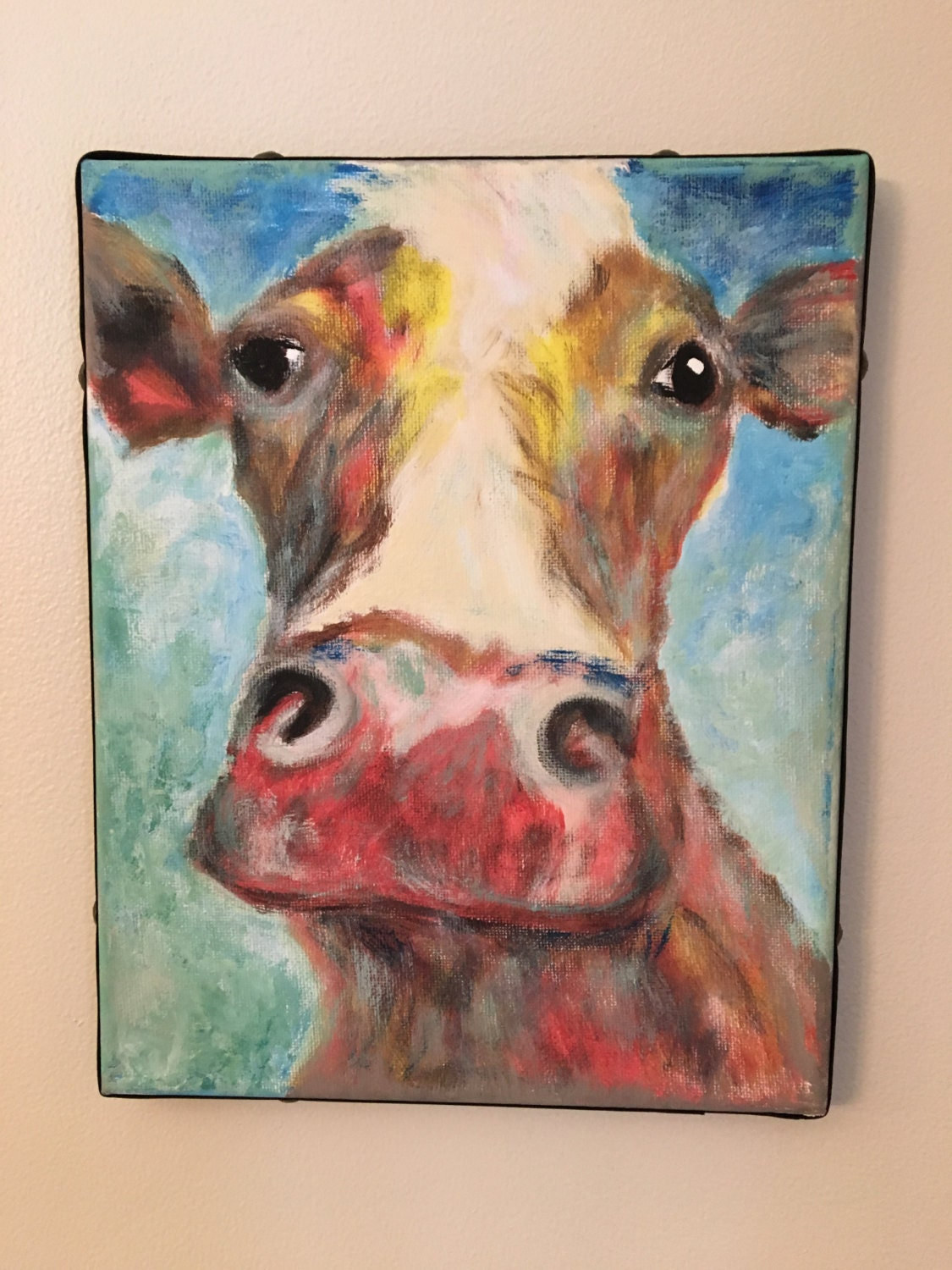 Colorful cow head painting