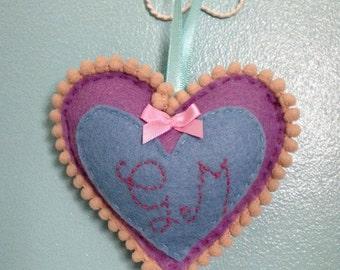 Personalised Felt Heart Ornament