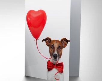 Jack Russell Card - Cute Dog Love Balloon Blank Card CP2399