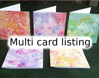 Water colour greeting card, Multipack cards, hand painted card, abstract water colour, art birthday card, unusual birthday card