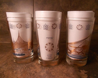 1967 International and Universal Exposition World's Fair Glasses Set of 3!
