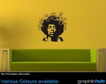 Jimmy Hendrix, music is my religion Wall Art Sticker Decal