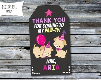 Puppy Thank You Tags / Puppy / Dog Party Bag Tags (Personalized) Digital Printable File