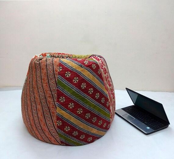 Handmade Cotton Quilt S Cut Peice Floral Bean Bag Chair By