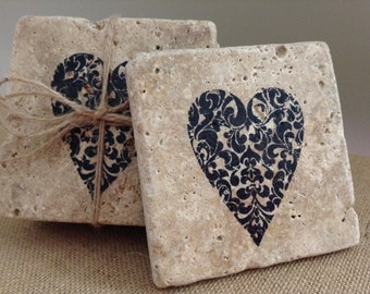 Coasters, Stone Coasters, Heart Coasters, Housewarming Gift, Rustic Wedding, New Home Gift Ideas, Wedding Gift Ideas, Rustic Wedding Gift