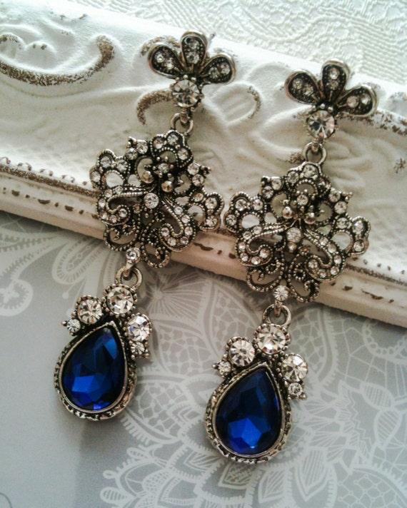 vintage inspired bridal earrings something blue by