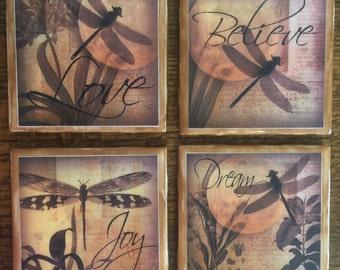 Dragonfly set of 4 ceramic tile coasters