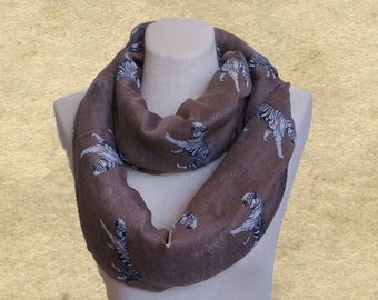Scarves animal print, Tiger circle scarf, Brown infinity scarf, Fabric loop scarf, Tiger pattern scarf,  Womens scarf loop, Women's scarves
