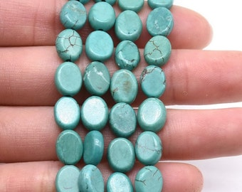 Turquoise beads, 7x9mm oval, loose gemstone beads, natural turquoise howlite stone, genuine gemstone strand wholesale, TQS3140