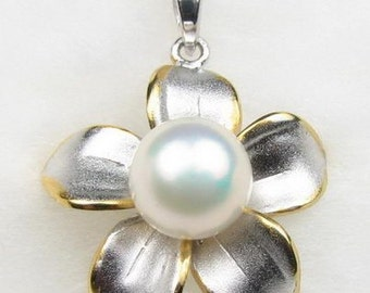 White pearl pendant, flower real pearl pendant, cultured freshwater pearls pendant, 925 sterling silver pearl necklace, 8-9mm, F1650-MP