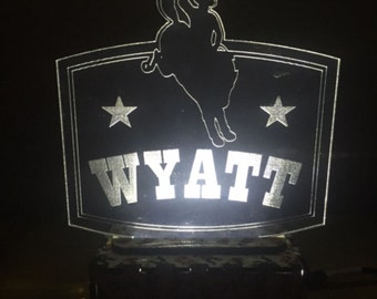Rodeo night light, Kids night light, LED light, Nursery lamp, Western baby nightlight, Bronco night light, Cowboy led night light, led light