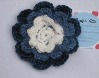 Crochet Blue Anenome Flower Brooch
