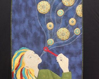 Blowing Bubbles, art quilt