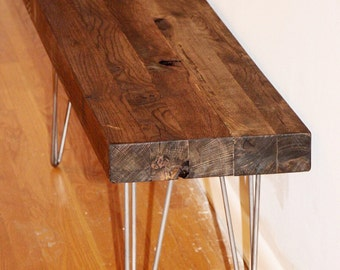 Reclaimed bench, reclaimed wood bench, industrial wood bench, industrial table, midcentry table, reclaimed wood table, industrial bench