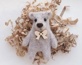 Needle felted bear brooch