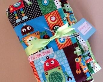 Lime Green Baby Blanket | Stroller Blanket | Car Seat Cover | Baby Boy Blanket | Lime Minky Blanket | Robot Blanket | Baby Shower Gift