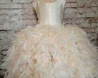 Ivory flower girl dress, off white flower girl dress, Ivory flower girl tutu dress, Ivory satin flower girl dress, rustic flower girl dress