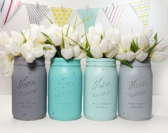 4- Hand Painted Quart Wide Mouth Mason Jar Flower Vases- Olivia Collection-Country Decor-Cottage Chic-Shabby Chic-French Chic