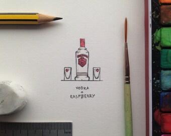 Vodka and raspberry miniture watercolour
