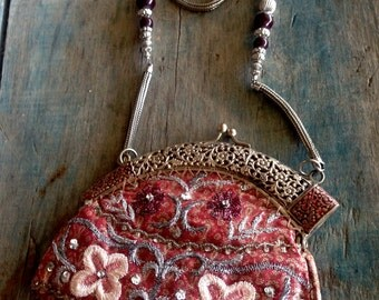 Handmade Purse Made in India |  Beaded and Embroidery Evening Bag