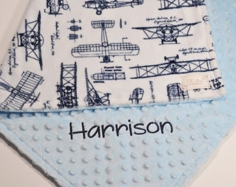 Personalized baby blanket with name-Monogrammed minky baby blanket-Birth Announcement blanket-Flight Airplane baby blanket-Airplane nursery