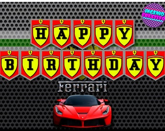 Ferrari Banner Alphabet,printable,digital All Letter,Happy Birthday Instant Download,Ferrari, Ferrari