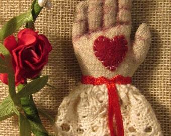 Hand heart brooch. OOAK ribbon / bell / lace. Fiber art.