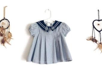 Vintage Baby Dress - Vintage Sailor Baby Dress - Size 3-6 Months Baby Girl Dress