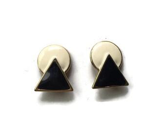 B&W Geometric Earrings - Funky Vintage Clip On Earrings - 80s Earrings