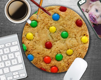 Giant M and M  Cookie -  Circle Mouse Pad - Mousepad - Funny - CoWorker Gift  Teacher Gift - Realistic Food - Desert