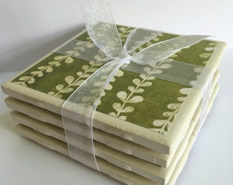 Set of 4 green vine coasters