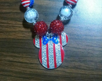 Minnie Mouse inspired bubblegum necklace 4th of July