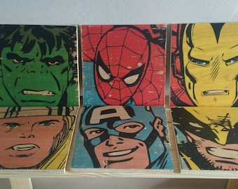 Marvel Superhero Wood Print Set