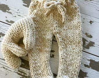 Chunky Cotton Newborn Pants Natural