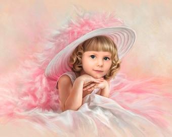 Custom Portrait  Oil painting. Children's portrait.Gift.