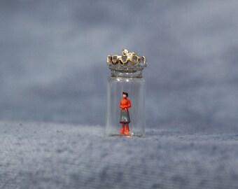 Miniature Woman Diorama Jar Pendant