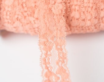 Peach Elastic lace, elastic by the yard, lace fabric, stretch elastic headband, elastic hair ties, wholesale elastic, stretch lace trim